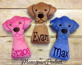 One Personalized Stuffed Dog Baby Rattle Soft Toy