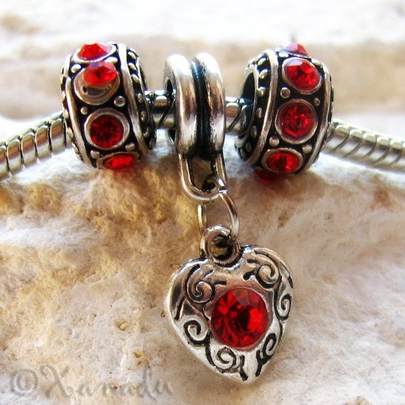 Ruby Red Heart Charm European Bead And Spacers Trio - July Birthstone Charms Fit All European Charm Bracelets