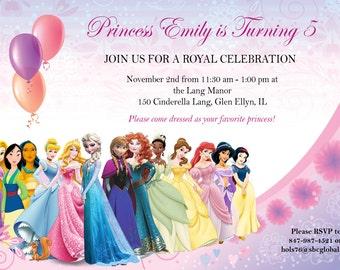 Disney Princesses Invite Featuring Elsa and Anna (Frozen)