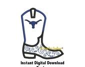 DD Cowboy Boot Applique - Plain & Longhorn - Shirts - Onesie - Burp Cloth Design - Machine Embroidery - 2 Designs in 2 Sizes - Download