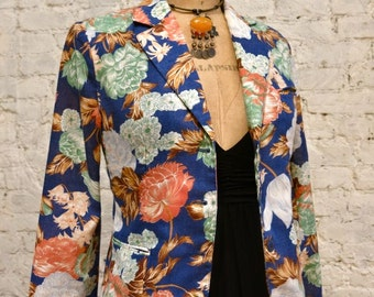 70s Cacharel Floral Jacket - Beautiful Fabric and Classic Style