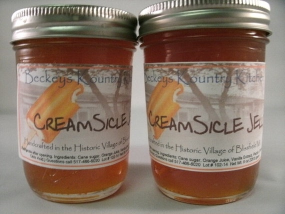 Two Jars of Creamsicle Jelly. Handmade, Deliciously Sweet Creamsicle Jelly fruit preserves,homemade fruit spread