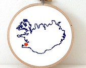 ICELAND Map Cross Stitch Pattern. Iceland Hand Embroidery pattern with Reykjavík. Iceland poster. Iceland art. Iceland cross stitch