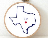 TEXAS Map Cross Stitch Pattern. TX State Needlepoint pattern with Austin. USA decor. Wedding gift. Home is where the heart is.