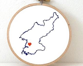 Wedding Gift Korea : North Korea Map Cross Stitch Pattern. North Korea wedding gift with ...
