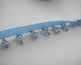 Blue Beaded Fringe, Blue Beads, Blue Embelishment With Silver, Baby Blue Trimming (19-110)