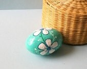 Hand Painted Handmade  Paper Mache Decorative Egg Green White Blue