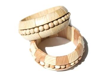 Wooden Bright bracelet Big wave. Handmade wooden jewelry.