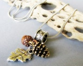 Autumn Treasures European Pendant Necklace - Fall Themed Charm Made With Gold Pine Cone, Copper Acorn And Silver Leaf Charms