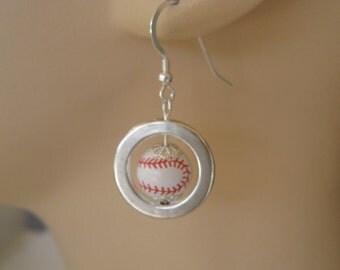 Dangly Baseball Hoops Earrings FREE SHIPPING!