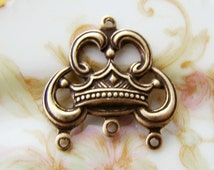 Ornate Antiqued Brass Ox Crown Filigree Chandelier Earring Three Strand Connector - 4