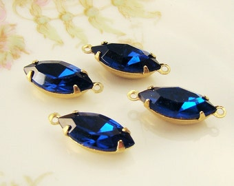 15x7mm Vintage Swarovski Navette Stones Capri Sapphirein Brass Prong Settings Drop or Connector - 4