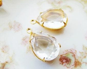 Faceted Crystal 15x11mm Teardrop Glass Stones in Brass Drop Pendant Settings - 2