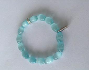Light Blue Oval Tiger Eye Beaded Bracelet