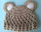 """Crochet baby bear hat in fawn and white.Newborn to 6 weeks only.To 12"""" circumference. READY TO SHIP."""