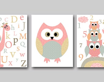 Kid Wall Art Kid Art Owl Nursery Owl Decor Alphabet Nursery Alphabet Baby Girl Nursery Baby Room Decor Gray Nursery Print set of 3 Pink