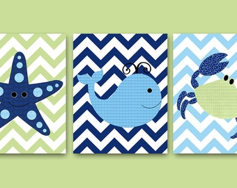 Bathroom Wall Art Sea Whale Nursery Starfish Nursery Crab Nursery Baby Nursery Art Nursery Wall Art Kids Room Decor Kids Art set of 3 Blue /