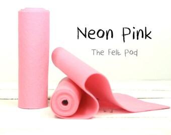 "100 Percent Wool Felt Roll - Wool Felt color NEON PINK - 5"" X 36"" Wool Felt - Pink Wool Felt"