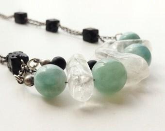 aquamarine men necklace  gemstone volcanic lava, quartz