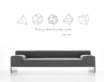 Science art mathematics- Cantor quote and the five Platonic Solids math wall decals removable wallpaper for your school (ID: 121016)