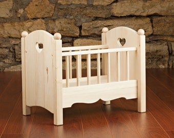 Handmade Wooden Doll Crib Toy