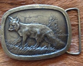 1977 Vintage RED FOX Brass Belt Buckle
