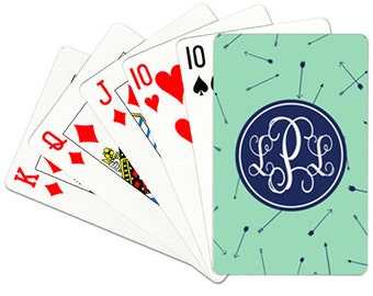 Monogrammed Playing Cards Personalized Deck of Cards Custom Card Deck Cards With Arrows Choose Colors