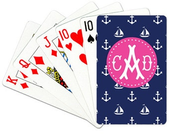 Monogrammed Playing Cards Personalized Deck of Cards Nautical Card Deck Custom Card Game