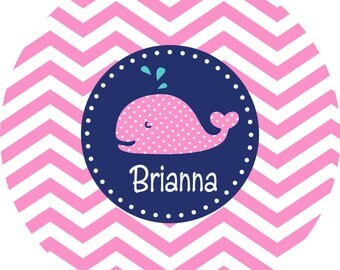 Personalized Melamine Plate, Kids Plates, Personalized Kids, Toddler, Girl, Preppy, Whale, PINK WINK