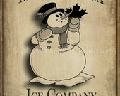 Primitive Christmas Snowman Ice Co.  Feedsack Pantry Label Logo Jpeg Image Great for Pillows Labels Hang tags Magnets Ornies
