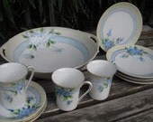 Nippon Hand Painted Porcelain China Bowl, Demitasse Cups and Saucers, Dessert Plates Forget Me Not Pattern