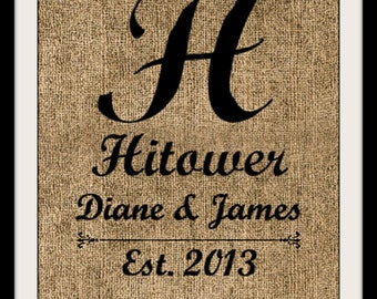Burlap Personalized Name Sign