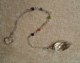 Reiki attuned and blessed Faceted Clear Crystal Quartz Chakra Pendulum with 7 chakra gemstones - Gifts under 20