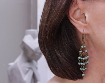 Vintage Inspired Chandelier Earrings with Turquoise Picasso Beads