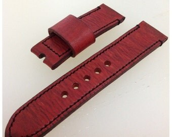 Ready Made Handmade Red Vintage Style Leather Strap Band with buckle for Panerai or big watch