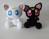 Amigurumi sailor moon inspired crochet Little Luna or Little Artemis