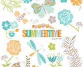 Instant Download Pretty Summery flowers, ladybug, butterfly, dragonfly, feather .PNG Clip Art and Pattern Set