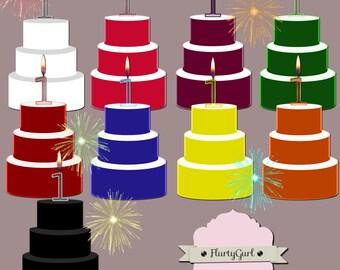 Digital Birthday Cake and Birthday Candle Clip Art