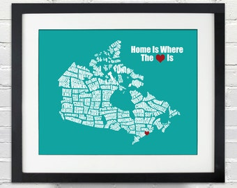 Home is Where the Heart Is - Canada Word Map, Personalized Wedding, Anniversary, Birdal Shower, Housewarming, Moving Gift Ideas