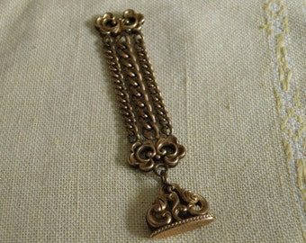 Antique Victorian Gold Filled Scrolled Watch Fob Seal
