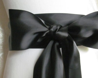 Black Satin Ribbon Sash / Ribbon Sash / Satin Bridal Sash /  Bridesmaid Sash / Black