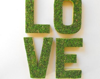 Wedding Decor-Moss Letters LOVE-Wedding Sign-Paper Mache Letters-Woodland Wedding-Mr Mrs Sign-Forest Wedding-Baby Shower Decor