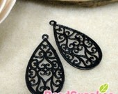 CH-ME-01333A- Matted Black enameled, Art Nouveau Filigree teardrop , 4 pcs