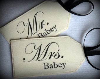 Mr. & Mrs. Plus your Name - Fabric Luggage Tag