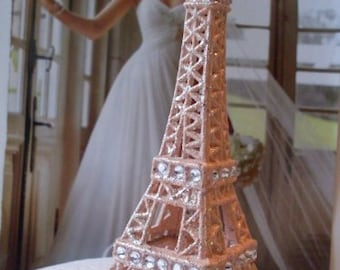 Cake Topper Peach/Rhinestone Paris Eiffel Tower MEASURES  5 & 1/2 INCHES TALL  We Ship Internationally