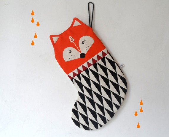 Scandinavian Retro Christmas stocking fox orange rust red black triangle geo by Gunna Ydri