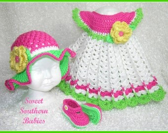 Girls Spring and Summer Dress with Sun Hat and Mary Janes - Perfect for Easter