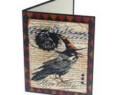 Raven halloween card, edgar allen poe, trick or treat, black orange witches hat, happy halloween blank card