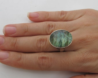 Large Labradorite Statement Ring- Oval Labradorite Sterling Ring- Faceted Iridescent Stone Ring-  Unique Gemstone Solitaire Ring