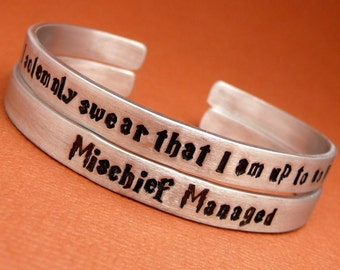 SHOP EXCLUSIVE - Choose ONE - I Solemnly Swear That I Am Up To No Good or Mischief Managed - A Hand Stamped Bracelet